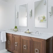 This wood vanity with twin sinks was chosen bathroom, bathroom accessory, bathroom cabinet, product design, sink, white, gray