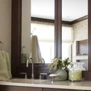 Mahogany frames the mirrors of the vanity in cabinetry, countertop, furniture, home, interior design, kitchen, living room, room, window, brown, white