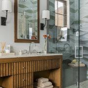 This bathroom, in a vacation home in the bathroom, bathroom accessory, bathroom cabinet, floor, home, interior design, room, sink, gray, brown
