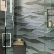 The wave tiles in this walk-in shower create architecture, bathroom, floor, glass, interior design, plumbing fixture, tile, wall, gray