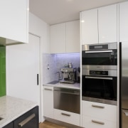 Colourful contemporary kitchen - Colourful contemporary kitchen - cabinetry, countertop, floor, home appliance, interior design, kitchen, real estate, room, gray