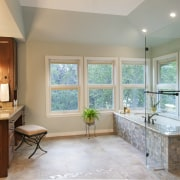 Large corner windows bring in plenty of natural bathroom, ceiling, estate, floor, home, interior design, real estate, room, wall, window, gray