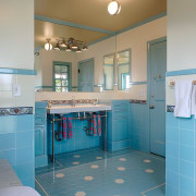 The family bathroom in architect Linda Brettlers own architecture, bathroom, blue, ceiling, floor, flooring, home, house, interior design, kitchen, real estate, room, tile, gray, teal