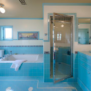 Mouldings and window frames are painted in the bathroom, blue, estate, floor, home, interior design, leisure centre, property, real estate, room, teal, gray