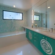 Architect Linda Brettlers work is defined by the bathroom, countertop, floor, flooring, home, interior design, kitchen, real estate, room, sink, gray
