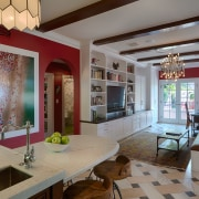 Cabinetry in the family living area matches the ceiling, home, house, interior design, kitchen, living room, real estate, room, table, window, gray