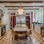 Architect Linda Brettler designed this traditional kitchen for ceiling, countertop, dining room, home, interior design, kitchen, real estate, room, gray