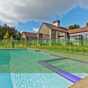 Making a splash  a substantial inground pool area, backyard, cottage, estate, grass, home, house, leisure, property, real estate, residential area, swimming pool, villa, yard, teal