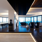Designed for private and corporate entertaining, this penthouse architecture, ceiling, house, interior design, living room, real estate, window, gray, black