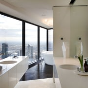 These two vanities are positioned to maximise a apartment, architecture, house, interior design, real estate, window, gray, white