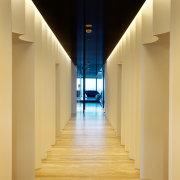 Fluted walls  a modern nod to Classicism apartment, architecture, ceiling, daylighting, floor, flooring, hardwood, home, house, interior design, light, lighting, property, real estate, wood, wood flooring, orange