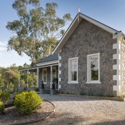 The front and side facades of this new cottage, estate, facade, farmhouse, home, house, property, real estate