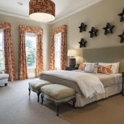 This bedroom features high ceilings and custom drapes bed frame, bedroom, ceiling, estate, furniture, home, interior design, real estate, room, wall, window, window treatment, brown, gray