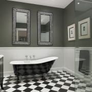 The main bathroom in this traditional home has bathroom, bathroom accessory, bathroom cabinet, floor, flooring, interior design, product design, room, sink, tile, gray, black
