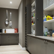 This large butlers pantry almost doubles the storage countertop, home appliance, interior design, kitchen, room, gray, black