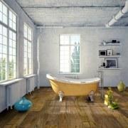 Neo laminate flooring from GD Woodhaus is suited bathroom, bathtub, floor, flooring, home, interior design, room, wood, wood flooring, gray, brown