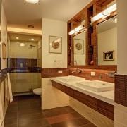 This bathroom by architect and designer Ed Kaplan bathroom, ceiling, estate, floor, flooring, home, interior design, real estate, room, brown, orange