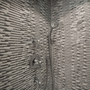 Shower in condominium bathroom renovation - Shower in architecture, line, metal, structure, wall, wood, gray, black