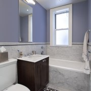 The sash windows in this remodeled bathroom were bathroom, bathroom accessory, floor, home, interior design, real estate, room, sink, gray