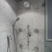 Shower in 1920s condominium bathroom renovation - Shower bathroom, plumbing fixture, shower, tap, tile, wall, gray