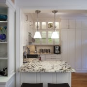 Full-height wraparound cabinets help this compact kitchen deliver cabinetry, ceiling, countertop, cuisine classique, home, interior design, kitchen, room, table, gray