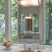 The mirrors in this new bathroom feature Ralph home, window, gray