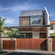 Automated gates are a feature of this semi-detached architecture, elevation, estate, facade, home, house, property, real estate, residential area