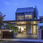 This new family house replaces a semi-detached home architecture, building, elevation, estate, facade, home, house, property, real estate, residential area, roof, villa, blue