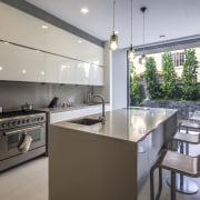 This family kitchen can be opened to the countertop, interior design, kitchen, real estate, gray