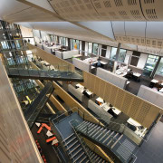 The central atrium of the Tyree Energy Technologies architecture, building, daylighting, metropolitan area, gray, brown, black