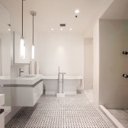 Fresh white bathroom with chromatherapy - Fresh white architecture, bathroom, ceiling, floor, flooring, home, interior design, property, real estate, room, sink, tile, gray