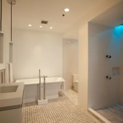 Contemporary bathroom with chromatherapy designed by architect John architecture, bathroom, ceiling, daylighting, estate, floor, flooring, home, interior design, property, real estate, room, orange, brown