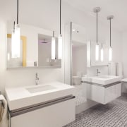 Matching his-and-hers cantilevered vanities bring a crisp, contemporary bathroom, bathroom sink, floor, interior design, plumbing fixture, product design, sink, tap, gray