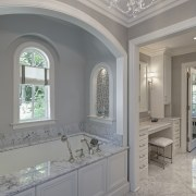 This new master bathroom by architect Scott Javore bathroom, ceiling, estate, floor, home, interior design, property, real estate, room, wall, window, gray