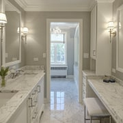 The second room in this bathroom suite contains countertop, daylighting, estate, floor, flooring, home, interior design, real estate, room, window, gray