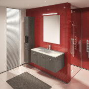 Key bathroom ideas like this one can be bathroom, bathroom accessory, bathroom cabinet, interior design, product design, room, gray, red