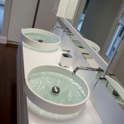 Vessel basins in HIA bathroom of the year bathroom, bidet, glass, plumbing fixture, product design, room, sink, tap, toilet seat, gray