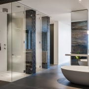 HIA bathroom design of the year - HIA bathroom, floor, glass, interior design, plumbing fixture, room, gray