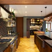 Natalie Du Bois kitchen evokes the textured look countertop, interior design, kitchen, real estate, room, brown