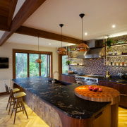 Kitchen in Desert Modern style with copper tiles, architecture, ceiling, countertop, estate, flooring, hardwood, interior design, kitchen, living room, real estate, wood, wood flooring, brown