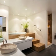 At the request of the owners, this space bathroom, estate, interior design, property, real estate, room, sink, gray