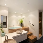 At the request of the owners, this space architecture, bathroom, ceiling, home, interior design, product design, real estate, room, sink, gray