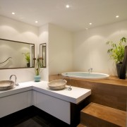 At the request of the owners, this space architecture, bathroom, ceiling, countertop, floor, interior design, kitchen, room, sink, orange