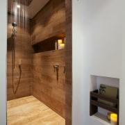 Italian porcelain tiles resembling timber planks contribute to architecture, bathroom, floor, flooring, hardwood, home, interior design, laminate flooring, lighting, room, tile, wall, wood, wood flooring, gray, brown