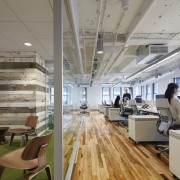 Reclaimed maple wood floors from an old factory interior design, office, gray