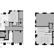 This new Kimberly-Clark office in Chicago occupies much architecture, area, black and white, design, diagram, drawing, elevation, floor plan, font, pattern, plan, product, product design, schematic, square, structure, text, white