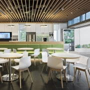 :Staff breakout area with green, built-in seating, white cafeteria, furniture, interior design, restaurant, table, white