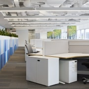 Birch tree graphics adorn pillars in the DNV desk, furniture, office, product design, gray