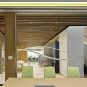 This conference room near the circulation stairs looks architecture, ceiling, daylighting, house, interior design, lobby, product design, real estate, gray, brown