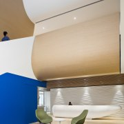 The fifth-floor reception lobby of the new head architecture, ceiling, daylighting, floor, house, interior design, lighting, product design, room, table, wall, wood, gray